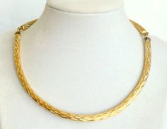 Gold tone Textured Choker Collar Necklace by DejaVuVintiques
