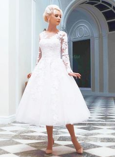 Wedding Dresses - $151.88 - A-Line/Princess Scoop Neck Tea-Length Tulle Wedding Dress With Appliques Lace (0025058917)