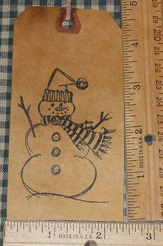 10 LARGE ~ SNOWMAN W/ STRIPED SCARF CHRISTMAS ~ PRIMITIVE GIFT HANG TAGS LOT #37