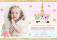 Unicorn Birthday Invitation, Magical Birthday, Magical, Unicorn Party, Photo - Digital or Printed Unicorn Birthday Invitations, Unicorn Birthday Parties, Unicorn Party, Girl Birthday, Create Invitations, Digital Invitations, Invitations Kids, Invitation Ideas, Birthday Photos