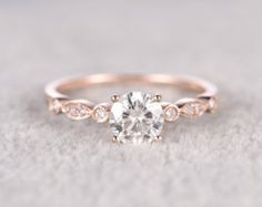 1ct brilliant Moissanite Engagement ring Rose by popRing on Etsy