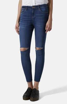 Topshop Moto 'Leigh' Ripped Skinny Jeans (Mid Denim) available at #Nordstrom