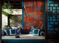 Discover the latest collections from Jim Thompson, including luxury interior textiles, wallcoverings, passmenteries, furniture and much more. Modern Chinese Interior, Asian Interior Design, Bathroom Interior Design, Asian Home Decor, Luxury Home Decor, Luxury Interior, Twin Bed Furniture, Plywood Furniture, Jim Thompson Fabric