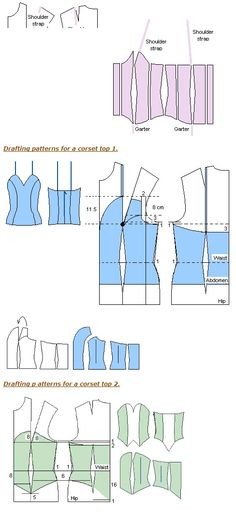 Some DIY Corset patterns using deconstructed shirts as patterns I believe.