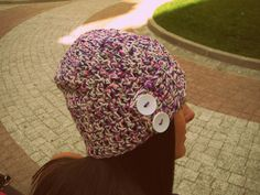 Mixed color crochet hat,buttons hat,cream hat,pink hat,blue hat,winter  hat ,woman hat