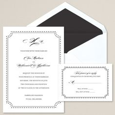 Exclusively Weddings Divine Detail Wedding Invitation displays your wedding details with a dotted border and beautiful monogram.