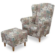 Kreslo ušiak s taburetom látka patchwork Viorica 1 ASTRID Armchair, Relax, Tv, Furniture, Home Decor, Scrappy Quilts, Womb Chair, Home Furnishings, Home Interior Design