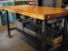 Antique Industrial Bench Butcher Block Top With Metal Base And Lower Shelf