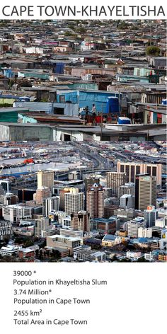 Cape Town, well known for its harbor and beautiful locales, also harbors Khayeltisha – a remnant of the darkest period in the history of the country.. For more information: http://realbuildr.com/blog/improbable-neighbors-worlds-biggest-cities-coexist-biggest-slums/