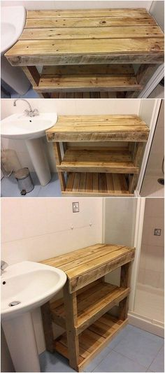 This is a simple and easy to build idea of wood pallet where the bathroom table design has been introduced. This bathroom table has been figured out to be put up with the divisions of the shelving units for the bathroom storage purposes.