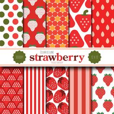 Strawberry Digital Scrapbook Paper Red by EclairdeLune1 on Etsy, $5.00