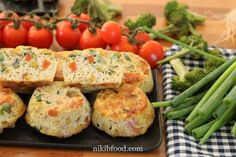 Grain-Free Veggie Muffins - These muffins are super moist, grain-free and have very little oil. They are chock-full of vegetables and eggs Grain Free, Dairy Free, Veggie Muffins, Diced Carrots, Grated Cheese, Fritters, Great Recipes, Sushi, Grains