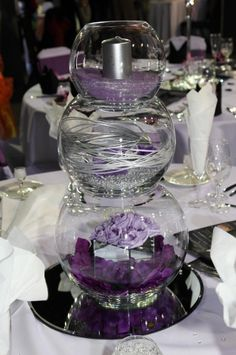 3 Tier Fish Bowl - like the candle in the top one. Fishbowl Centerpiece, Party Centerpieces, Wedding Decorations, Wedding Table, Diy Wedding, Wedding Day, Purple Wedding, Wedding Flowers, Deco Floral