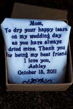 Wedding Thank You Gift for mom - my mom could definitely use these!