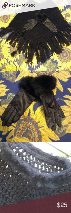 Shawl and Gloves Black Accessories Scarves & Wraps