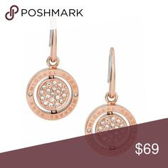 82a7e1d2cf30 Michael Kors Rose Gold Crystal Pave Flip Earrings Michael Kors