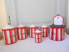 5 ANTIQUE French Enamelware CANISTERS + SALT BOX  RED STRIPES