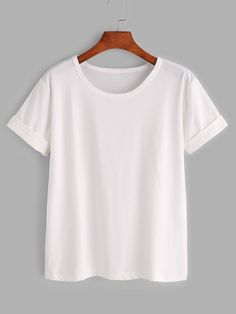 Shop Plus Solid Rolled Sleeve Tee online. SHEIN offers Plus Solid Rolled Sleeve Tee & more to fit your fashionable needs. White Tee Shirts, White Tees, Basic T Shirts, Plain T Shirts, Plain Colored T Shirts, Black T Shirt, Plain White T Shirt, Plain Tops, Knotted Shirt