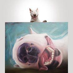my friend @artrocha send this amazing oil paint as a gift to Jimmy. I tell him he could do this for more people... thank you @artrocha (ps. I think Jimmy loves it) . meu amigo @artrocha enviou essa tela a oleo de presente peo Jimmy. Eu disse que ele deveria fazer isso pra mais pessoas... Valeu @artrocha (ps. eu acho que o Jimmy adorou) Miniature English Bull Terrier, English Bull Terriers, Mini Bull Terriers, Bull Terrier Dog, Funny Dog Faces, Most Beautiful Dogs, Best Dog Breeds, Animal Paintings, Dog Art