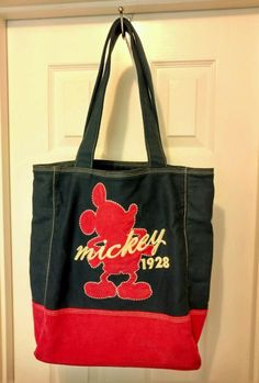 0171a89786f Disney Disneyland Resort Blue Mickey Mouse Pink 1928 Purse Hand Carry Bag  Tote