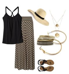 Simple Summer Chic by cloudyeyz on Polyvore featuring polyvore fashion style Phase Eight Patagonia Giuseppe Zanotti Style Tryst Mixit Alicia Marilyn Designs H&M clothing maxi sandals summer hats