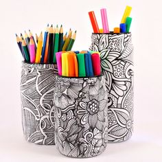 Organize your supplies with jars and your favorite coloring book pages! I used copies of my favorite coloring book pages instead of the actual page.  I also use…