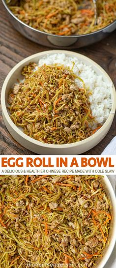 Egg Roll in a Bowl is a delicious healthier Chinese recipe made with cole slaw mix, soy sauce, sesame oil, ginger and pork. You can use ground chicken too! food recipes Egg Roll in a Bowl (Healthy & Quick Chinese stir-fry) - Dinner, then Dessert Egg Roll Recipes, Pork Recipes, Chicken Recipes, Healthy Chinese Recipes, Healthy Recipes, Healthy Food, Dinner Healthy, Chinese Dinner, Chinese Egg