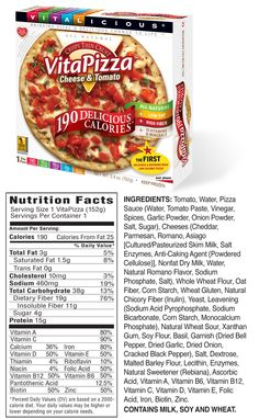 190 Calorie VitaPizza Nutrition Facts - Cheese & Tomato