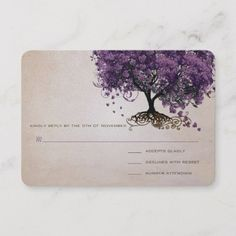 Shop Simply Peachy Purple Heart Leaf Tree Wedding RSVP created by samack. Purple Wedding Invitations, Wedding Invitation Design, Tree Wedding, Wedding Rsvp, Save The Date, Whimsical, Leaves, Romantic, Heart