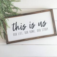 Shown here with a WHITE background, BLACK lettering, and DARK WALNUT frame. This is us. Our life. Our home. Our Story. Every family has a story that makes them who they are. Add this to your gallery wall to help tell your story! This item is handmade Farmhouse Remodel, Farmhouse Style Kitchen, Rustic Farmhouse, Farmhouse Signs, Kitchen Wood, Farmhouse Interior, Farmhouse Ideas, Rustic Wood, Kitchen Decor