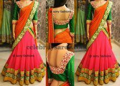 Orange Work Half Saree | Saree Blouse Patterns