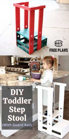 I created plans and built this DIY Toddler Step Stool with Guard Rail for my niece. #diy #toodlerstool #project #kidsproject