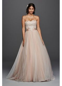 Jewel Strapless Tulle Beaded Lace Wedding Dress at David's Bridal