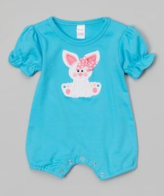 Another great find on #zulily! Turquoise Bunny Romper - Infant #zulilyfinds