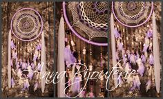 Violet Dream Catcher Large Dreamcatcher Sunset Dream сatcher dreamcatchers boho dreamcatchers wall decor handmade gift idea Christmas gift    Dreamcatcher webs size  55 cm, total length - 150 cm,     amethyst, pens, ceramic pearls,tulle, felt, metal furniture, plastic beads, turkey feathers      Amethyst is used to relieve stress, strengthen the endocrine and nervous systems, increasing the activity of the right hemisphere of the brain, the pineal gland, and the normalization of the action…