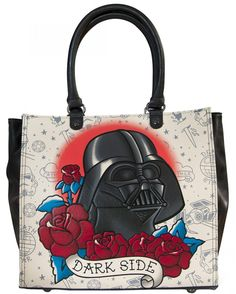 """Loungefly Star Wars Darth Vader Tattoo Tote. This Tote features top zip closure, interior zipper, side pouch pocket, and is fully lined inside. Measures: 13"""" X 12.5"""" X 5"""". Authentic Licensed Star Wars product , Manufactured by Loungefly."""