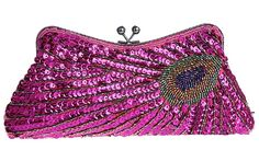"""Iblue Hand Beaded Sequined Peacock Design Purse Evening Bag Wedding Party Handbag#3381 (Hot Pink). ✔ Clutch Size- The Product Dimensions Is 10.2""""L x 1.2"""" W x 5.0""""H inches (26cm L x5cm x 13cm H). ✔ Stylish Design- A Gorgeous And Glamorous Evening Handbag With A Kiss-Lock Top Closure And A Dazzling Array Of Sequins And Beads Arranged Into A Peacock Feather Design. ✔ Suitable Capacity- Use The Fabric-Lined Interior Of This Fashion Mini Bag To Stow Small Essentials Like Keys, ID, Lipstick, And…"""