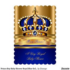 Prince Boy Baby Shower Royal Blue Gold Crown 2 5x7 Paper Invitation Card