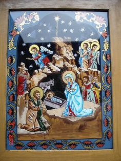 NATIVITY .Ortodox icon, tempera on glass Adriana Mihoc Dragus