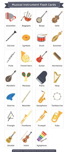 Free printable musical instrument flash cards. These are suitable for teaching reading, ESL, etc. Download them in PDF format at http://flashcardfox.com/download/musical-instrument-flash-cards/