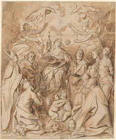 Jacob Jordaens | Veneration of the Eucharist. Verso: Nude Female Figures | Drawings Online | The Morgan Library & Museum