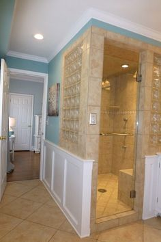 enclosed shower with partial walls - Google Search