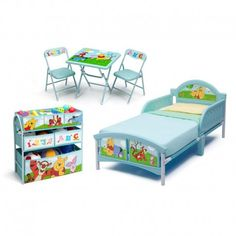 Winnie The Pooh Disney - Set Habitación (Cama,Organizador,mesa y sillas)