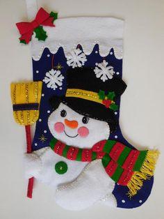 Finished Bucilla Lined Christmas Stocking Jolly Snowman Felt Christmas Stockings, Christmas Snowman, Xmas, Felt Applique, Embroidery Fonts, Christmas Decorations, Holiday Decor, Felt Ornaments, Felt Crafts