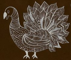Contour line drawing of a turkey - could use for example for scratch art animal textures