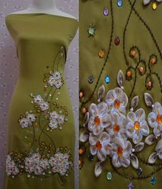 Wonderful Ribbon Embroidery Flowers by Hand Ideas. Enchanting Ribbon Embroidery Flowers by Hand Ideas. Diy Embroidery Kit, Silk Ribbon Embroidery, Embroidery Dress, Embroidery Stitches, Embroidery Patterns, Sewing Patterns, Satin Ribbon Flowers, Ribbon Art, Fabric Flowers