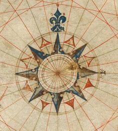 Rosa-dos-ventos de antiga carta náutica, do cartógrafo português Pedro Reinel (1504)