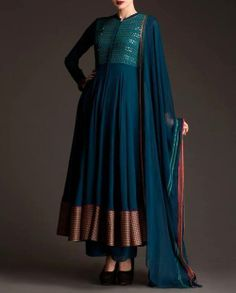 fashion, anarkali, teal, copper border, dupatta, Indian, ethnic, traditional, dress, beautiful, simple, sequin