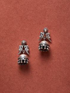 Buy Designer Silver Earrings for Women Online Gold Jhumka Earrings, Indian Jewelry Earrings, Silver Jewellery Indian, Jewelry Design Earrings, Antique Earrings, Silver Jewelry, Silver Rings, Silver Jhumkas, Jewelry Accessories