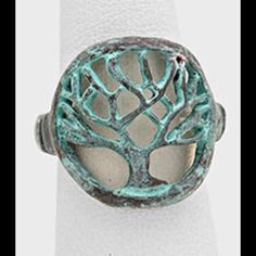 Tree of life ring with antique copper finish. Cut out tree of life ring with antique copper patina. Stretch band.  Metal ring. Jewelry Rings